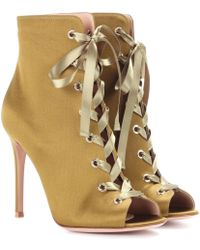 Gianvito Rossi - Marie Satin Peep-toe Ankle Boots - Lyst