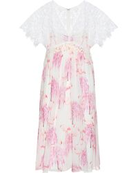 Giamba - Printed Silk And Lace Dress - Lyst