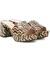 Prada - Logo Leather Plateau Sandals - Lyst