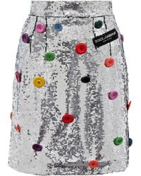 Dolce & Gabbana - Embellished Sequinned Skirt - Lyst