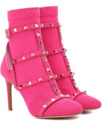 Valentino - Rockstud Bodytech Ankle Boots - Lyst