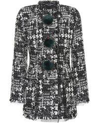 Dolce & Gabbana - Fur-trimmed Tweed Jacket - Lyst