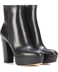 Gianvito Rossi - Temple Leather Platform Ankle Boots - Lyst