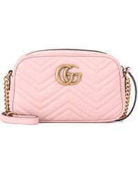 a8e669e7ec35a4 Lyst - Gucci GG Marmont Leather Crossbody Bag in Pink