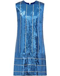 Victoria, Victoria Beckham - Sequined Striped Shift Dress - Lyst