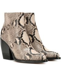 Chloé - Rylee Embossed Leather Boots - Lyst