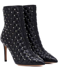Valentino - Garavani The Rockstud Quilted Leather Ankle Boots - Lyst