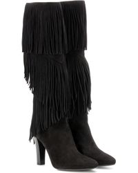 Saint Laurent - Lily 95 Fringed Suede Boots - Lyst