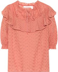 See By Chloé - Cotton Eyelet Top - Lyst