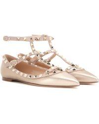 Valentino - Garavani Rockstud Metallic Leather Ballerinas - Lyst