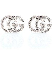 Gucci - Running G 18kt White Gold Diamond Earrings - Lyst