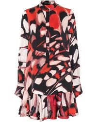 Alexander McQueen - Butterfly-printed Silk Satin Dress - Lyst