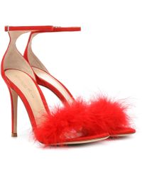 Gianvito Rossi - Exclusive To Mytheresa – Bliss Feather-trimmed Suede Sandals - Lyst