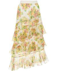 Zimmermann - Golden Printed Silk Skirt - Lyst
