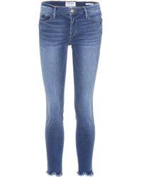 FRAME - Le High Skinny Jagged Hem Jeans - Lyst