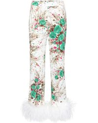Prada - Exclusive To Mytheresa. Com – Feather-trimmed Printed Silk Trousers - Lyst