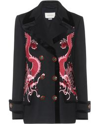 Gucci | Embroidered Wool Coat | Lyst