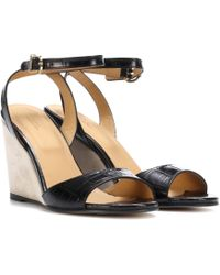 A.P.C. | Oda Embossed Leather Wedges | Lyst