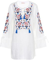Tory Burch - Wildflower Embroidered Linen Dres - Lyst