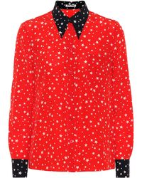 Miu Miu - Star-printed Silk Blouse - Lyst
