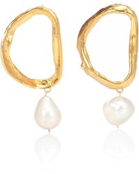 Alighieri - Dante's Shadow 24kt Gold-plated Bronze Earrings With Baroque Pearls - Lyst