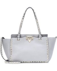 a30c21fd42 Valentino 'rockstud' Mini Patent Leather Tote in Pink - Lyst