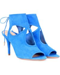 Aquazzura - Sexy Thing 85 Suede Sandals - Lyst
