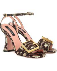 Rochas - Leopard-brocade Sandals - Lyst