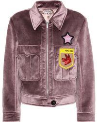 Miu Miu - Velvet Beaded Appliqué Jacket - Lyst