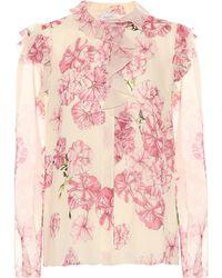 Giambattista Valli - Top de seda con estampado floral - Lyst