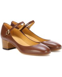 abc047fa1f46 A.P.C. Tan Leather Classic Wooden Wedge Sandals in Brown - Lyst