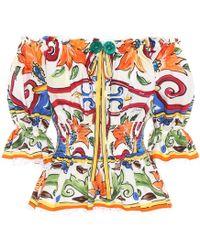 Dolce & Gabbana - Bedrucktes Top aus Baumwolle - Lyst