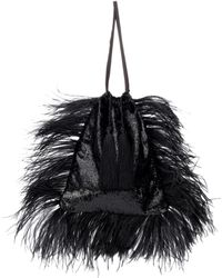 Attico - Velvet Pouch With Feathers - Lyst