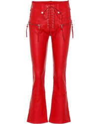 Unravel - Leather Lace-up Flared Trousers - Lyst