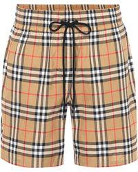 Burberry - Vintage Check Cotton Shorts - Lyst
