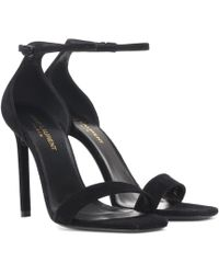 17ebc6d2a102 Lyst - Saint Laurent Tribute 105 Suede Sandals in Black - Save ...
