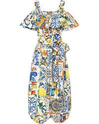 Dolce & Gabbana - Majolica-print Cotton Jumpsuit - Lyst