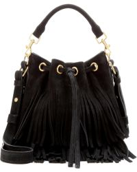 Saint Laurent | Emmanuelle Classic Small Fringed Suede Bucket Bag | Lyst