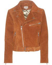 Ganni - Suede Biker Jacket - Lyst