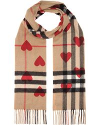 Burberry - Exploded Check Hearts Cashmere Scarf - Lyst