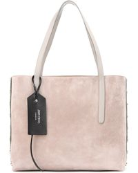 Jimmy Choo - Twist East West Suede And Metallic Leather Shopper - Lyst