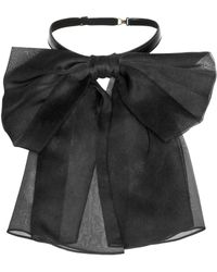 Saint Laurent - Silk And Leather Neck Bow - Lyst