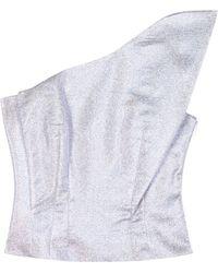 Vika Gazinskaya - One-shoulder Metallic Cropped Top - Lyst
