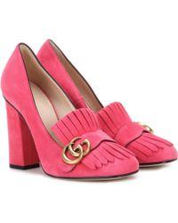 Gucci Suede Loafer Pumps - Pink