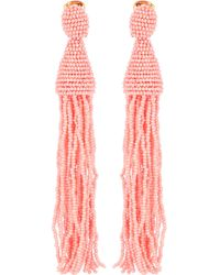 Oscar de la Renta - Beaded Tassel Earrings - Lyst