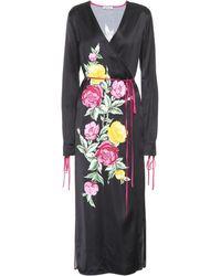 Attico - Grace Printed Satin Wrap Dress - Lyst