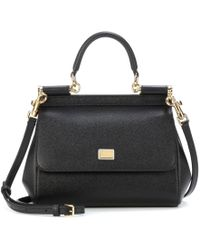 4f34cdae6e16 Dolce   Gabbana - Black Sicily Dauphine Leather Small Satche - Lyst