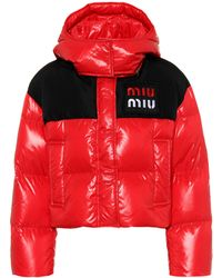 Miu Miu - Cropped Two-tone Quilted Shell Down Jacket - Lyst