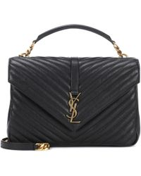 7ec9b029926 Saint Laurent Monogram Collège Small Quilted Leather Satchel in ...