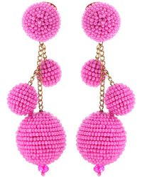 Oscar de la Renta - Embellished Clip-on Earrings - Lyst